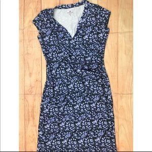Athleta Blue Floral Print Dress Outdoor V Neck